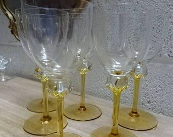 Beautiful set of 6 Large Wine Glasses/Vintage/1980s