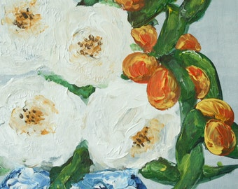 """White Flowers and Clementines Painting- Print from Original Acrylic Painting, """"White Peonies and Clementines"""", Flower Painting, Cottage"""