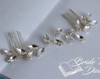 Wedding hair jewelry, rhinestones bridal silver hair comb