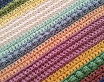 Multicolored Striped Crochet Blanket