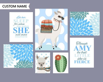 Blue Alpaca Art, Alpaca nursery art, nursery decor, Aqua blue nursery, choose a color, custom name nursery art, SKU3011
