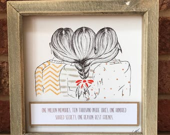 Gifts for her/ Gifts for Best Friends/ Mother Daughter Gifts/ Personalised Framed Gifts/ Handdrawn art