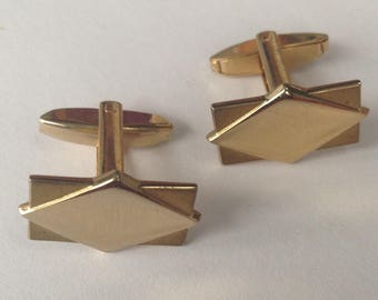 Beautiful Vintage 1960's Cuff Links with Geometric Design, Signed Foster, men's jewelry