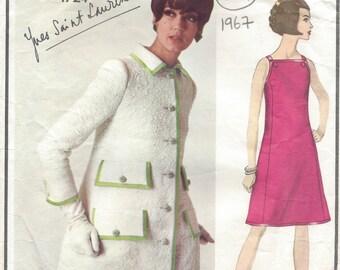 1967 Vintage VOGUE Sewing Pattern B36 Dress & Coat  (1334) By Yves Saint Laurent