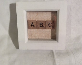 "Small hand crafted ABC frame, lovely for any nursery, approximate size 4.25 x 4.25"" square"