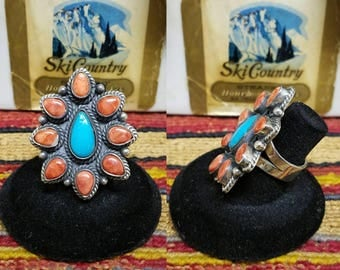 Spiny Oyster and turquoise Sterling silver Navajo ring