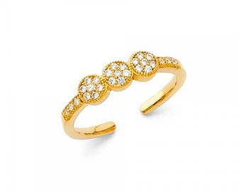 14K Solid Yellow Gold Cubic Zirconia Circle Toe Ring Adjustable - Love Band