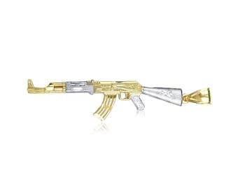 10K Solid Yellow White Gold Rifle Gun Pendant - AK-47 Machine Necklace Charm