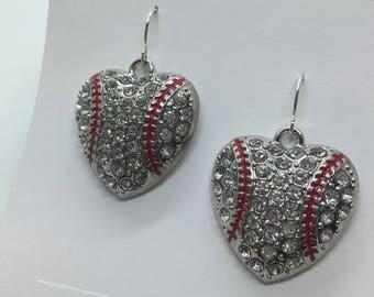 Baseball Heart Earrings - Baseball Bling - Sport Earrings - Baseball Earrings - Rhinestone Baseballs