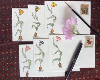 Dancing Tulips (Coloured), Set of 6 Hand-decorated envelopes