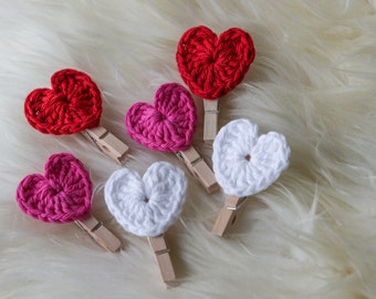 Crochet Valentine Hearts of 6 with Wooden Clips