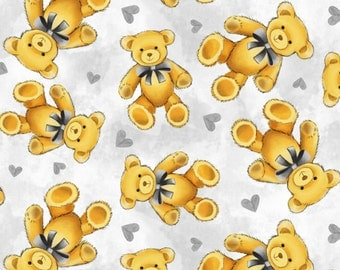 Teddy Bear Anti-Pill Fleece Fabric by the yard /David Textiles/Free shipping available/baby fabric/baby fleece/grey fleece