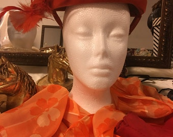 Orange Feather hat