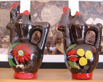 Macedonian Glazed Pottery Birds, Vintage Handmade Pottery Birds Macedonia, Vintage Pottery Bird Vases, Handpainted Earthenware, Clay Pottery