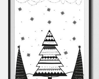CHRISTMAS TREE Print , Christmas wall art, Christmas printable , Christmas tree ,Digital Art , Holiday Decor ,8X10 Print , black&white