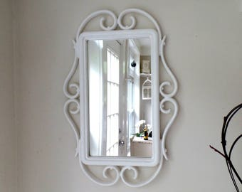 Large Mirror - Vintage Ornate Rectangle - Scrolly - Shabby Chic - White - Wall Mirror - Baby Nursery - Bathroom Bedroom - Wedding
