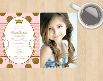 Digital Download Princess Girl Birthday Invitation, 1st 2nd 3rd 4th 5th 6th Any Age, Customisable, Gold, Pink, White, Children, Glitter
