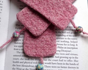 Powder Pink felted bookmark