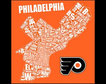 Philadelphia Typography Flyers Map