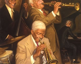 Jammin by Overon,Canvas Art,Jazz ,Music,Prints