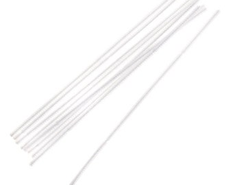 "100, 6mm, White Chenille Stems, Pipe Cleaners, 12"" Long"