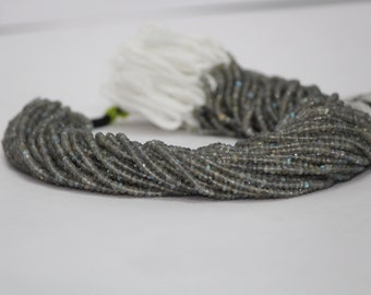"""Labradorite Faceted Beads 13"""" Strand Top quality 3.5mm - 4mm Faceted Rondelle Gemstone Beads Natural Gemstone Faceted Labradorite Beads"""