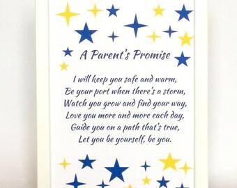 New parent poem, poem for a baby, a parent's promise poem, baby poem, newborn baby poem, baby print,  promise for a baby, new parent rhyme
