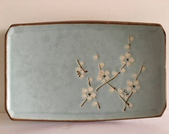 Set of 4 Sushi Plates- Light Blue Plates with Cherry Blossom Detail- Asian Stoneware