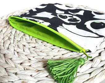 Zipper pouch, zipper bag, pencil case, zipped pouch, panda pouch, school suppliers, bag organiser, stationery organiser, make up bag