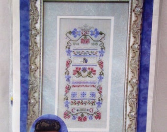 Charland Designs Inc. Queen Charlotte's Sampler Cross Stitch Pattern Kit, Includes Sterling Silver Charm & Gloriana Silk Thread, New In Pkg