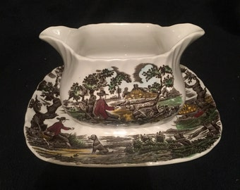 Myott The Hunter Gravy Sauce Boat   Staffordshire ware