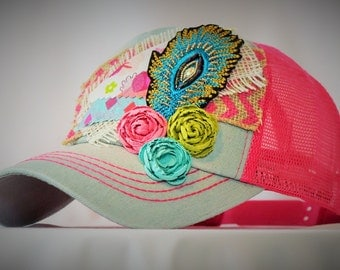 Pink and Denim Bling Feather Baseball Hat