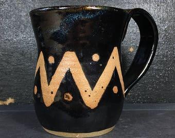 Black ceramic mug, 8 oz, Unique pottery, Handmade Mug
