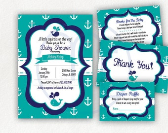 Printable, Customized, Little Squirt, Whale, Anchor, Baby Shower Invitation, Books for Baby, Request Card, Thank you Card, Digital Download