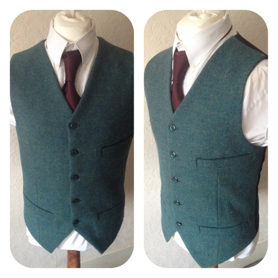 Dark Green Harris Tweed Waistcoat Winter Wool Vest Mens Groom Best Man Wedding Waistcoat