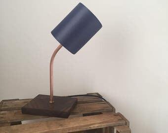 Night light table lamp bed Walnut copper look handmade in Berlin