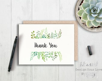 printable thank you card printable greenery thank you leafy wreath thank you card green wedding watercolor greenery bridal shower thank you