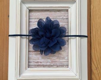 Beautiful navy blue skinny flower headband, baby girl navy headband, navy boutique headband, toddler navy flower headband, baby headband