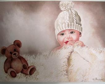 Original acrylic painting on canvas Baby Boy & Bear