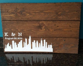 Rustic Wood Wedding Guest Book - Chicago City Skyline