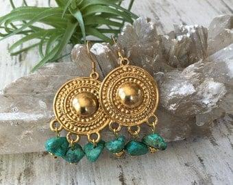 Turquoise Golden Chandelier Earrings