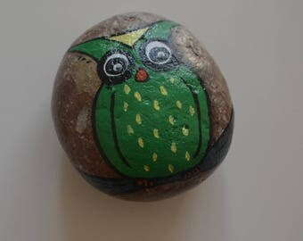 Hand-painted stone - unique - motif-OWL - Gartendeko