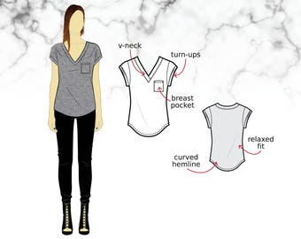 XS-XL Relaxed t-shirt with breast pocket, v-neck and short sleeves with turn-ups (PDF sewing pattern for knits) Kommatia Patterns