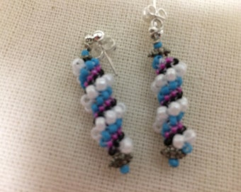 Blue and Pink Beaded Earrings