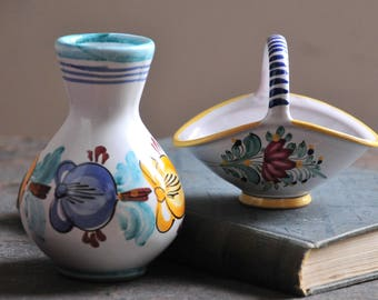 small vintage ceramic vase, hand painted pottery vase,