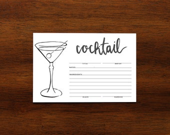 drink recipe cards etsy. Black Bedroom Furniture Sets. Home Design Ideas