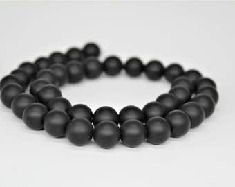 Matte Black Onyx Agate Gemstone Round Loose beads 6/8/10/12mm