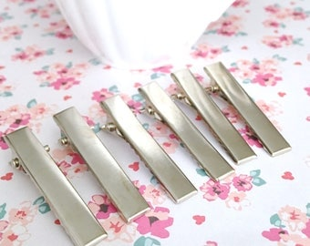 Silver Alligator Clips | Silver Pinch Clips | Hair Claws | 4CM Clip | 40MM Clip | Alligator Clip with Teeth for Gluing | 8 Pieces