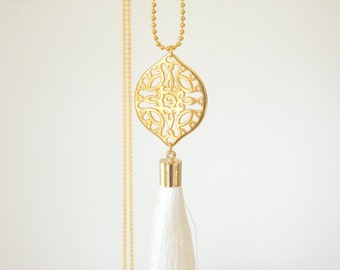 long boho necklace with tassel