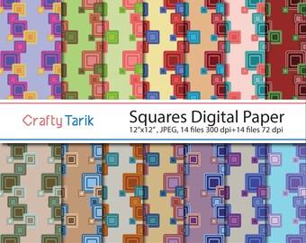 Squares Digital Paper,Squares Scrapbook Paper,12x12,JPG,Background,Rainbow digital Paper,Printable,Party and Gifting,Printmaking,CraftyTarik